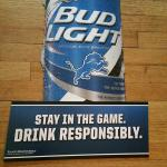 bud light detroit lions cardboard 2 sided sign-23x18-$8